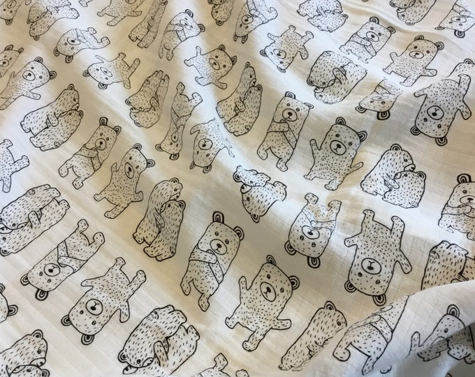 Adorable bear Double gauze swaddle,muslin swaddle, receiving blanket, approximately 47x47 baby blanket