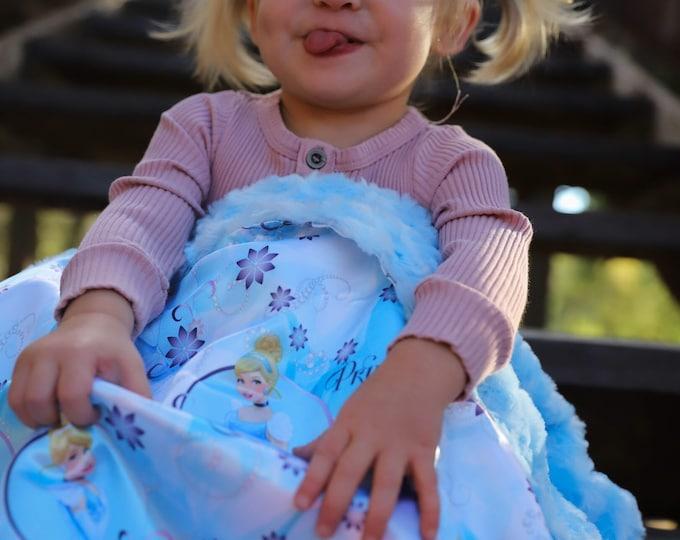 Gorgeous Silky Cinderella Princess Baby Blanket, silky satin Cinderella Princess front, back with high quality light blue cuddle rose minky