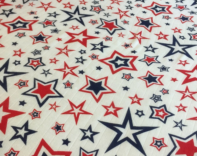 Red, white & Blue stars, Independence Day, Fourth of July,  Double gauze swaddle, bamboo muslin swaddle, approximately 47x47 baby blanket