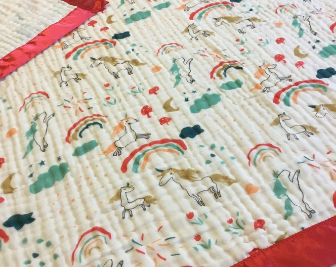 Unicorn Blanket, 6 layers of cotton muslin edged with satin trim, this baby blanket measures approximately 38x40, Ready to ship
