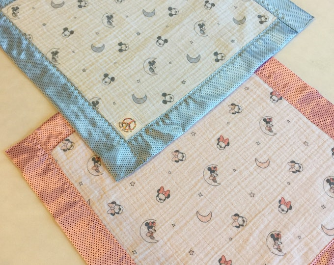 Muslin, Lovey, Travel blanket, Silky Blanket, Double Gauze, swaddle, Disney. Great baby shower gift, Custom orders welcome