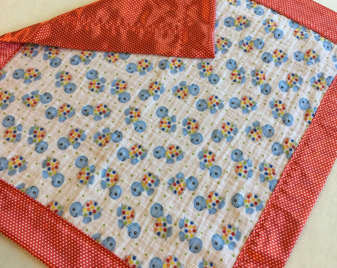 Baby Blanket, Turtle Muslin Blanket, travel blanket, silky blanket, lovey, swaddle blanket, great baby shower gift, Peacefuldreams