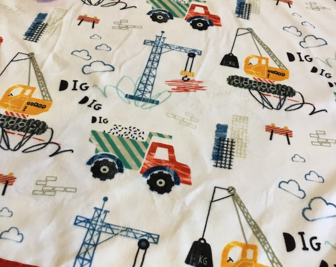 Cozy Construction crib blanket, plush minky front ~ backed and edged with coordinating silky (Measures 30x40)