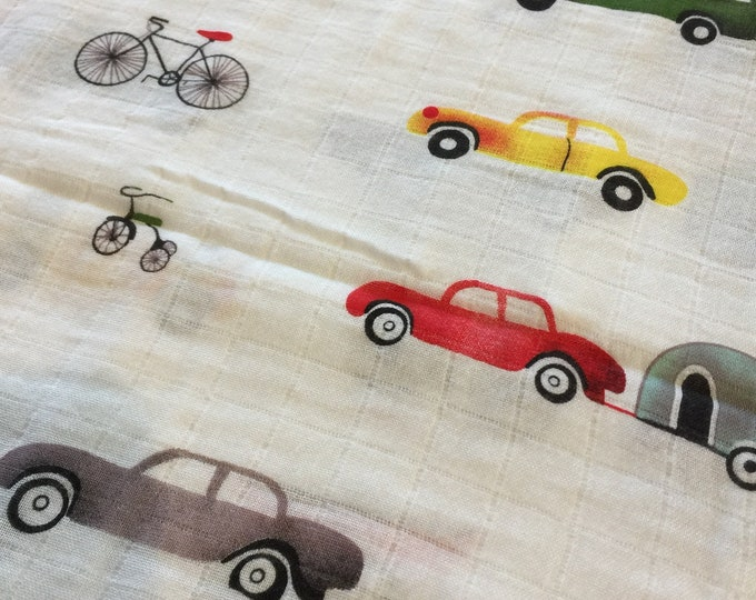 Double gauze swaddle,  Muslin swaddle, cars, camping, bicycle, swaddle blanket, newborn, light weight breathable baby blanket 47x47 bamboo
