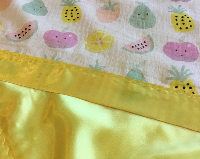 Gorgeous double gauze fruit muslin, backed and edged with coordinating yellow silky fabric 30x40