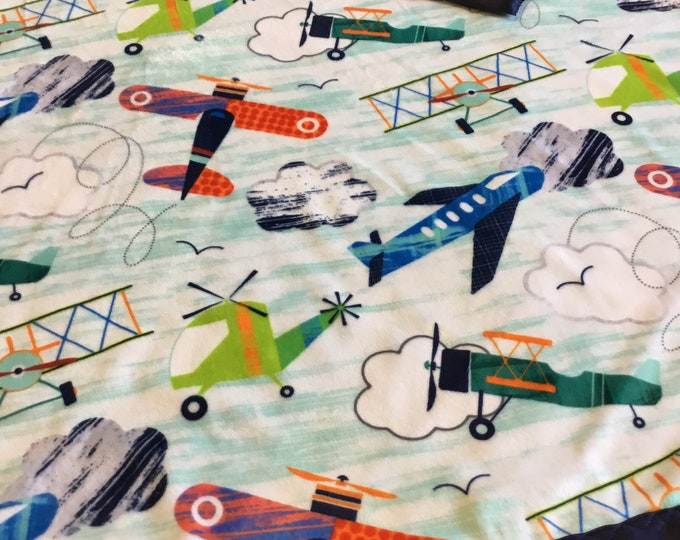 Cozy Aircraft crib blanket, plush minky front ~ backed and edged with coordinating silky (Measures 30x40)