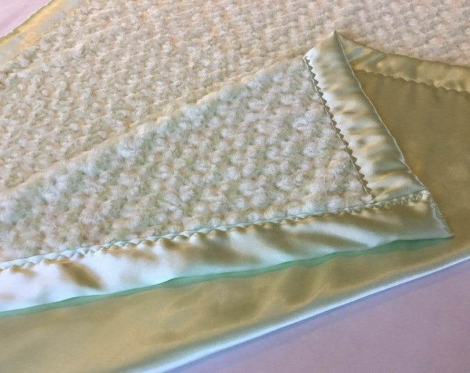 Lovely Celery Green cozy blanket,  40x50 plush front, backed and edged with coordinating silky fabric