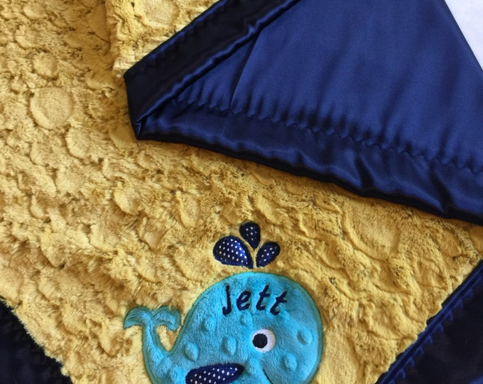 Custom Baby Blanket. Beautiful plush antique gold Minky , backed & edged with coordinating silky Charmeuse fabric. With appliqué Whale