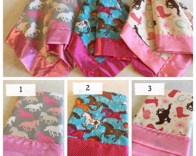 Cowgirl Travel Baby Blanket, Stroller Blanket. Flannel Front backed & edged with high quality silky satin. Cow Girl Blanket, Lovey.