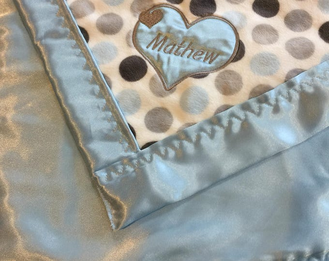 "Baby Blanket ""Mathew"" matching petsonalized muslin travel blanket"