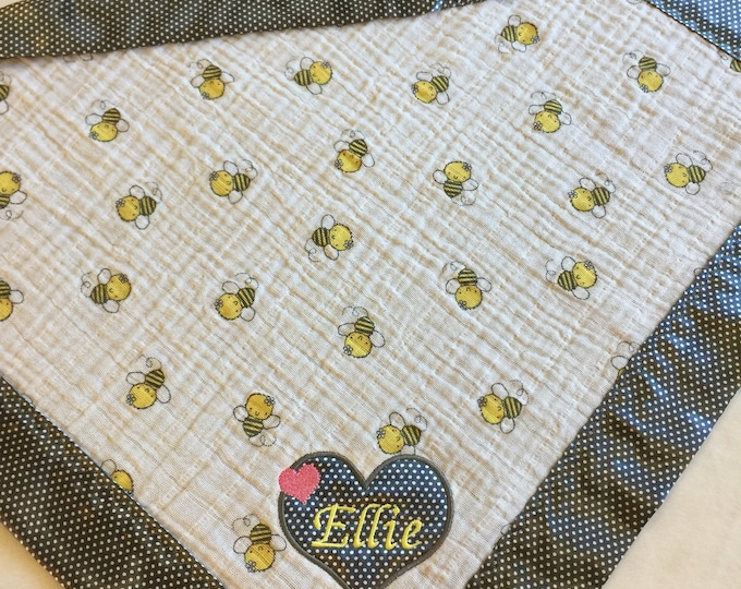 Muslin Baby Blanket, Lovey. Bumblebee  Muslin print, backed and edged with Silky fabric.. Great Baby Gift, security blanket.