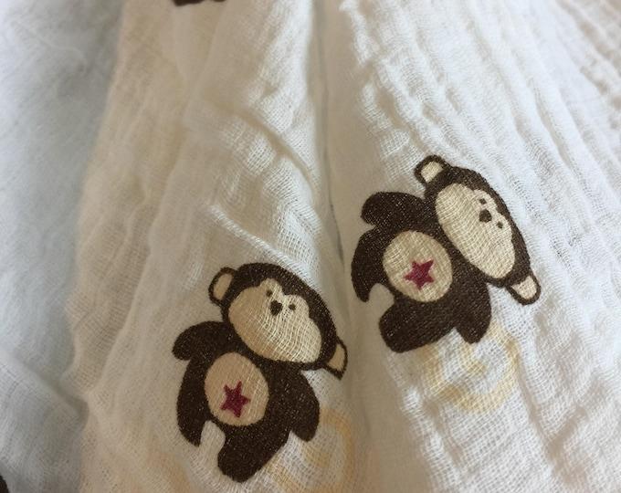 Large Muslin swaddle, double gauze cotton, baby swaddle, monkey, swaddle blanket, newborn, light weight cotton breathable baby blanket 46x46