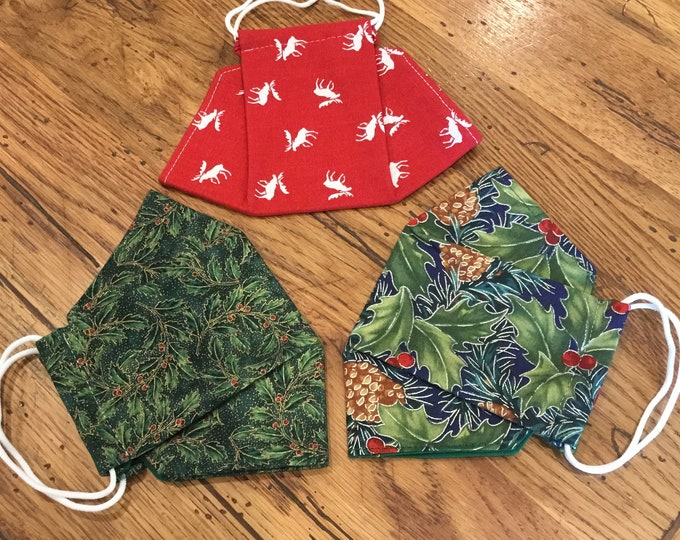 3D Face Masks, homemade mask, washable & reusable, soft ear elastic and adjustable nose wire, same day shipping, fun Christmas prints