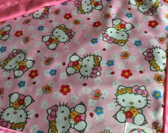 Hello Kitty Travel Silky. Babyblanket, Silkyblanket, Stroller blanket, Lovey, Homemade.20x20 lovey