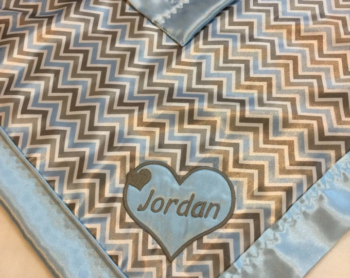 Light blue, Gray, White Chevron Silky, backed & edged with light Blue silky. Silky Carseat Blanket, travel blanket, lovey approx 20x20