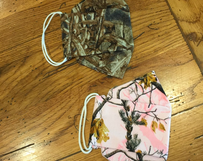 Homemade Camo face masks, washable & reusable, soft ear elastic and adjustable nose wire, 3D, same day shipping, many prints to choose from