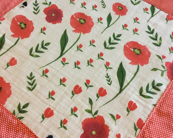 Double Gauze Red floral lovey, travel Baby Blanket, Silky Blanket, Breathable blanket, Satin Blanket, Baby Shower gift, Muslin lovey 20x20