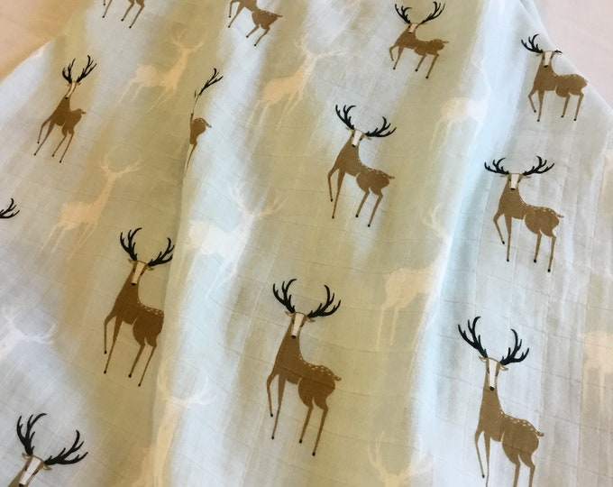 Buck, Deer, Double gauze swaddle, Muslin swaddle, swaddle blanket, baby swaddle, cotton blanket, muslin blanket, dinosaur, bamboo cotton