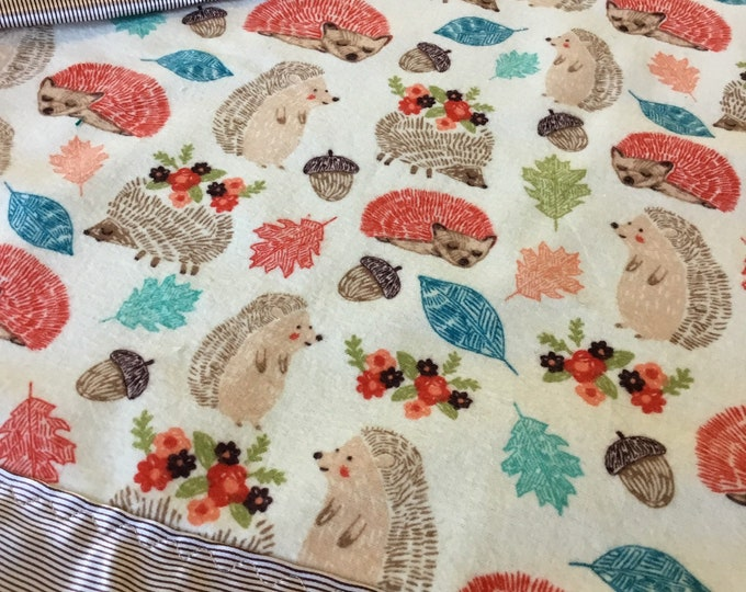 Adorable Hedgehog silky blanket, silky, lovey, travel blanket, flannel front bcked and edged with silky fabric, can be customized