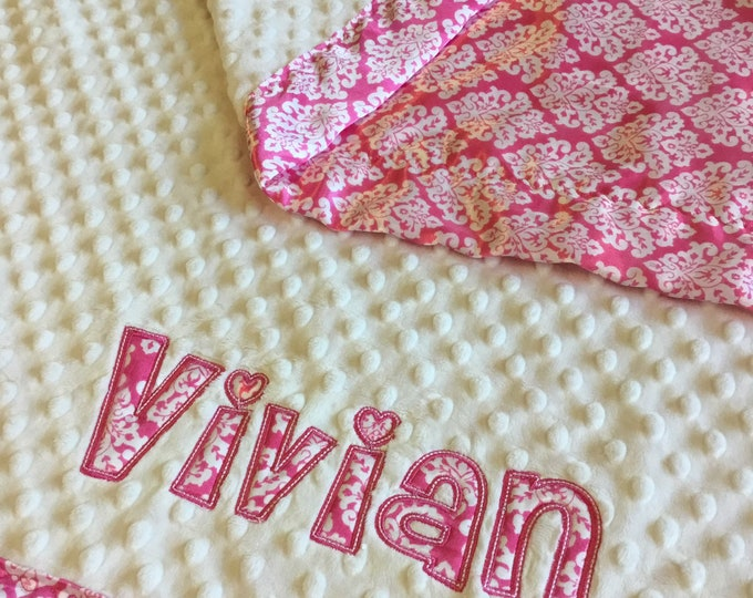 Beautiful Personalized Crib Blanket, white minky front,  backed and edged with pink damask silky