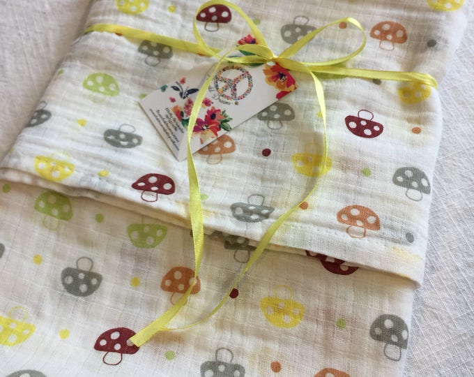 Double gauze swaddle, Muslin swaddle, mushroom, swaddle blanket, newborn, light weight breathable baby blanket 46x46 ready to ship