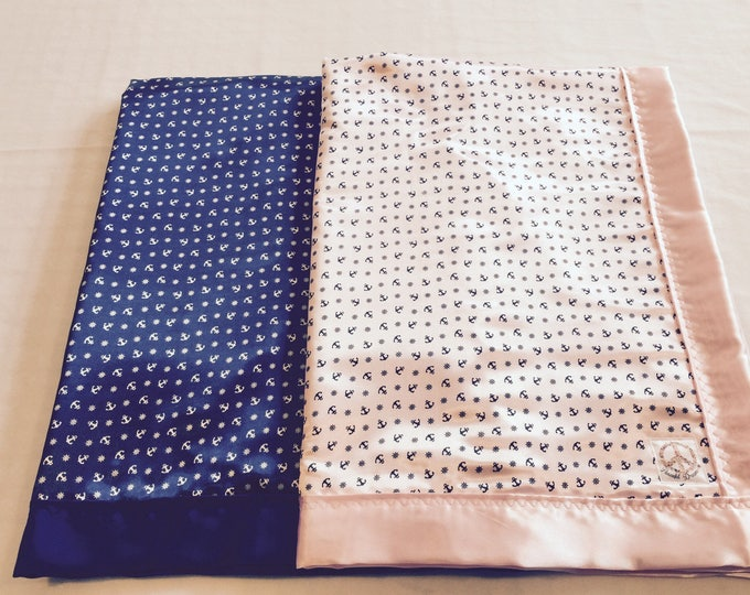 Anchor Silky Baby Blankets- Twins-Crib blanket-Baby Boy-Baby Girl-Baby Shower Gift- Silky Blanket-Sailor Blanket-Nautical Baby Blanket-Cozy