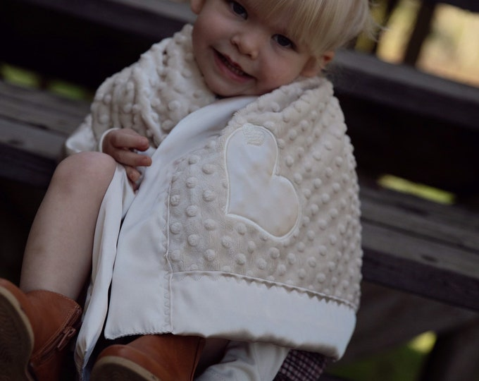 Baby Blanket, Minky front, backed and edged with coordinating silky fabric, personalized baby blankets, 30x40