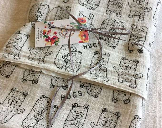 Double gauze swaddle, Organic Muslin swaddle, bears, swaddle blanket, newborn, light weight breathable baby blanket 45x45 ready to ship