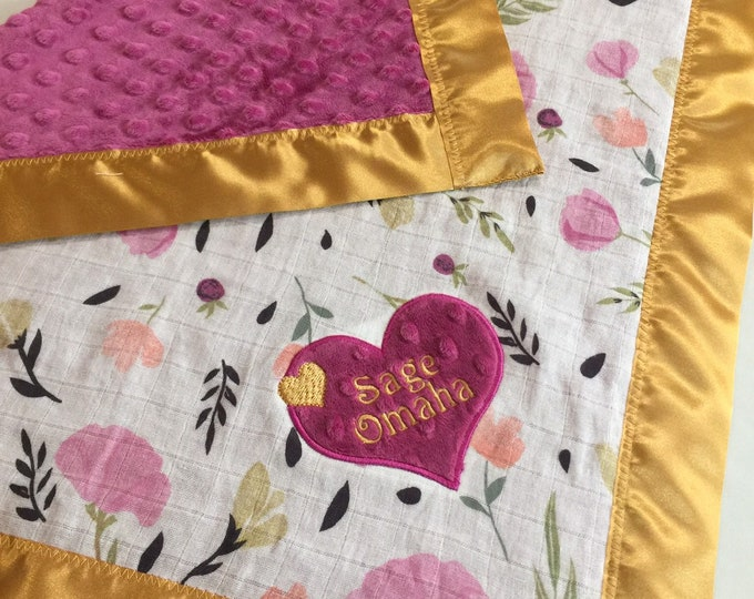 Floral  lovey 20x20, muslin front-backed with plush minky fabric-edged with silky binding