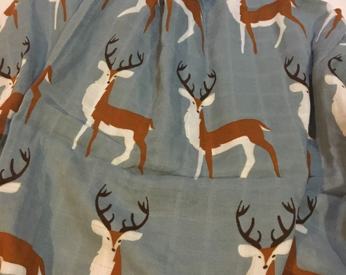 Large muslin buck deer swaddle, organic cotton, muslin swaddles, double gauze baby swaddle, approximately 50x50
