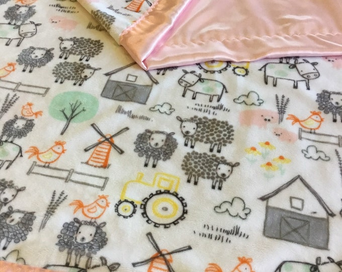 Custom listing 40x50 toddler blanket, farm minky front , backed and egded with pink silky fabric