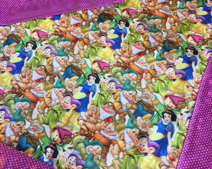 Disney Snow White and the seven dwafts. Baby blanket, Silky blanket, Stroller blanket, Lovey, silky, 20x20