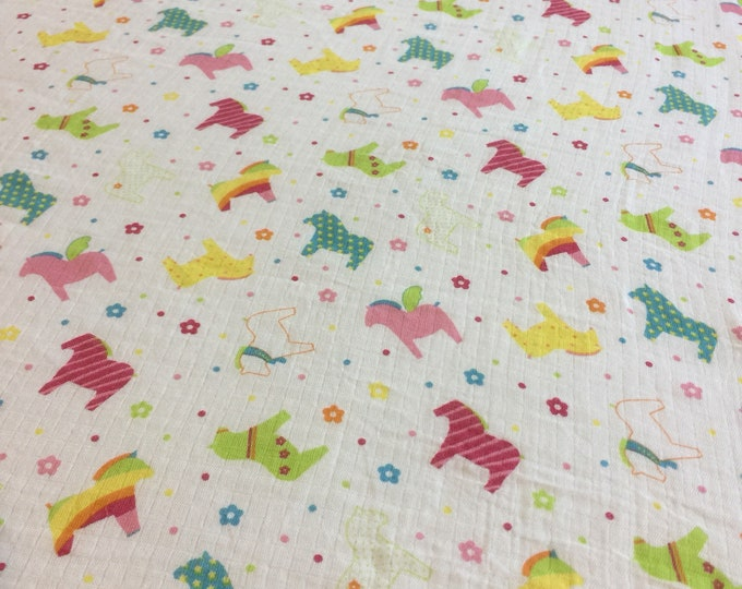 Horse Double gauze swaddle, Muslin swaddle, baby swaddle , swaddle baby blanket, rainbow, receiving blanket, 42x45
