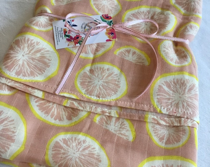 Large Double gauze swaddle, bamboo cotton, swaddle baby blanket, light weight breathable baby blanket, 47x47, muslin swaddle, grapefruit