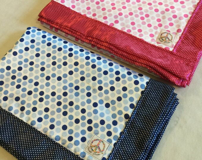 Baby Blanket-Crib Blanket-Silky Blanket-baby boy-baby girl-baby shower gift-lovey-Polka Dot-Nursery-Stroller blanket-Dream Big
