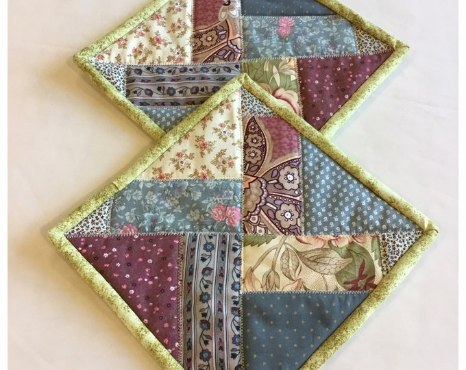 Two Homemade Heavy Duty quilted potholder, Set of handmade quilted hot pads, 9x9, perfect easter and Mother's Day gift