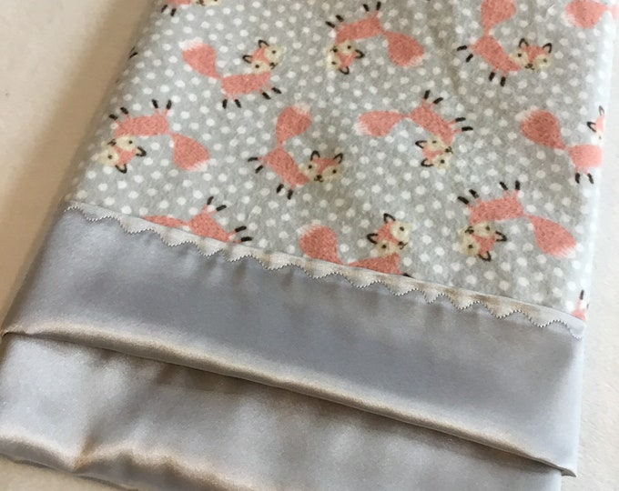 Lovey, baby blanket, crib blanket, silky blanket. Beautiful fox flannel front, backed and edged with gray silky, 20x20, woodland