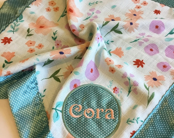 Adorable Floral muslin lovey, Backed & edged with high Quality silky fabric .. Perfect baby shower gift. Travel blanket, lovey