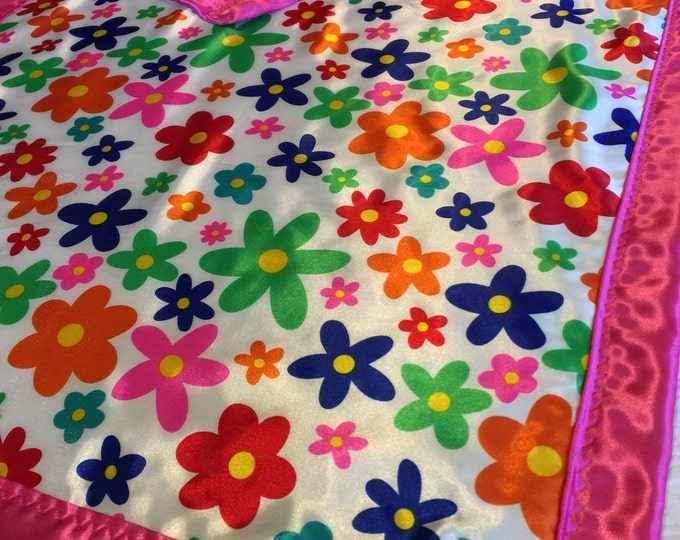 Crib Blanket, Baby Blanket,  Floral Silky Crib Blanket..Colorful Silky flower on front, backed & edged with silky satin Fabric. Cribblanket.