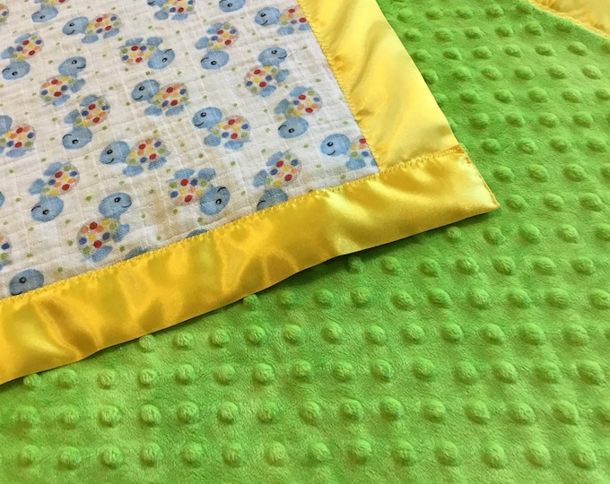 Turtle baby blanket, muslin front-backed with plush minky fabric-edgedwith silky fabric 30x