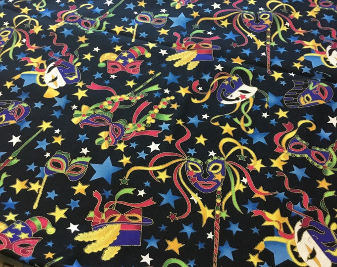 Fun Mardi Gras fabric by the yard, Cotton fabric 36x45, fun for crafting and sewing projects, same day shipping