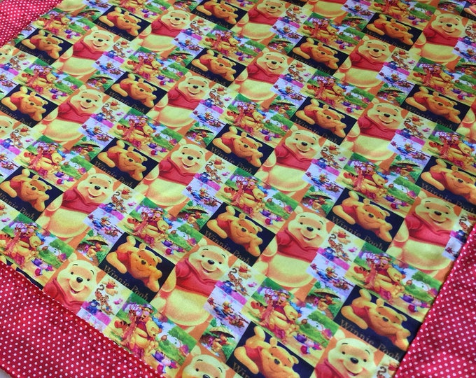 Disney Winnie the Pooh. Baby blanket, Silky blanket, Stroller blanket, Lovey, silky, Homemade.