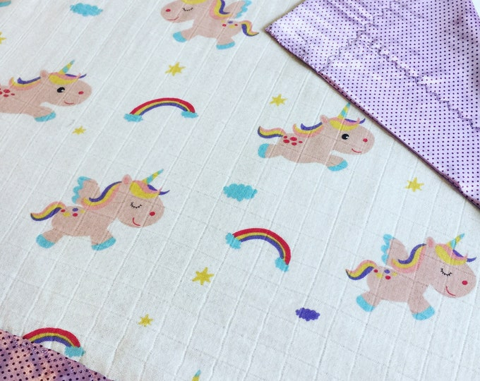 Unicorn bamboo Muslin front, backed and edged with silky fabric. This is travel size lovey 20x20, Muslin silky