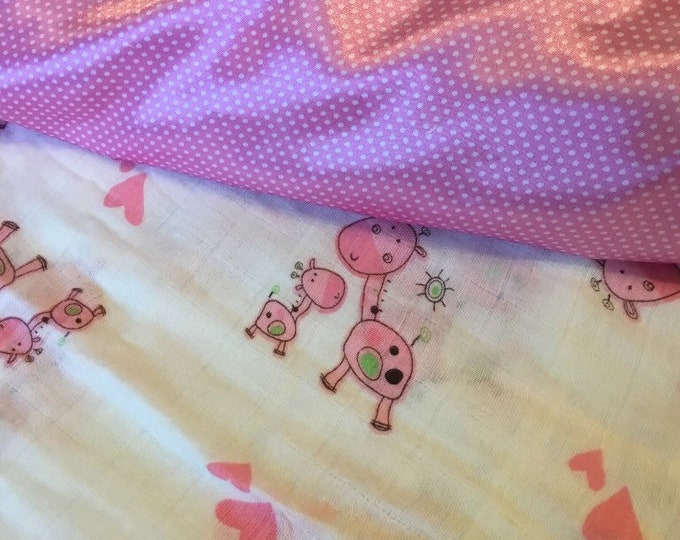 2 muslin lovey's Backed & edged with high Quality silky fabric .. Perfect baby shower gift. Lovey 20x20