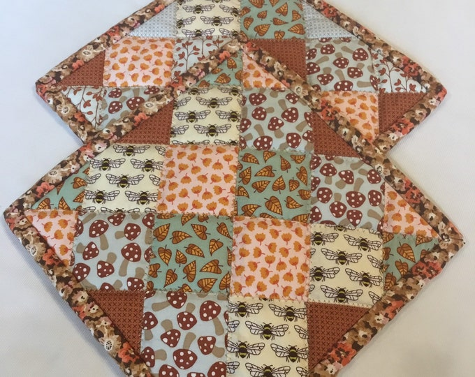Two Homemade Heavy Duty quilted potholder, Set of handmade quilted hot pads, 8x8, perfect for gift giving and receiving
