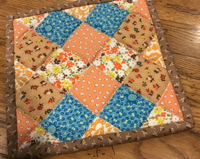 Homemade quilted potholder, approximately 8x8 quilted Hot Pad, pot holder, hotpad, perfect for gift giving and receiving