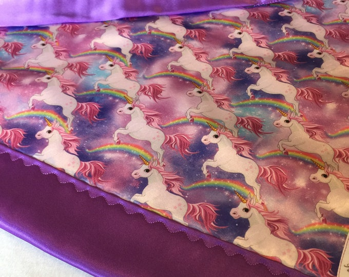 Unicorn silky  lovey, this lovey messures 20x20 and can be personalized.