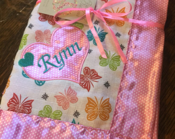 Personalized Baby Blanket, Beautiful butterfly Muslin front, Backed and edged with silky soft charmeuse Fabric 30x30