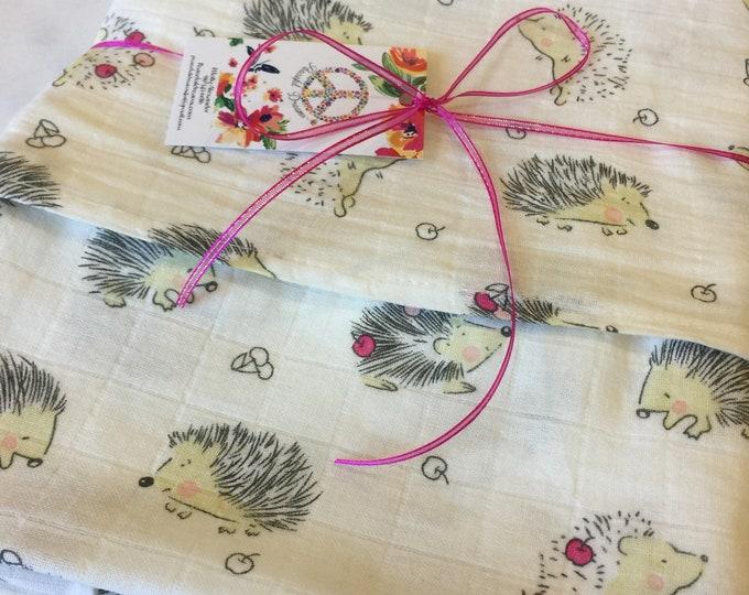 Hedgehog Double gauze swaddle, Muslin swaddle, baby swaddle , swaddle baby blanket, receiving blanket,  38x48
