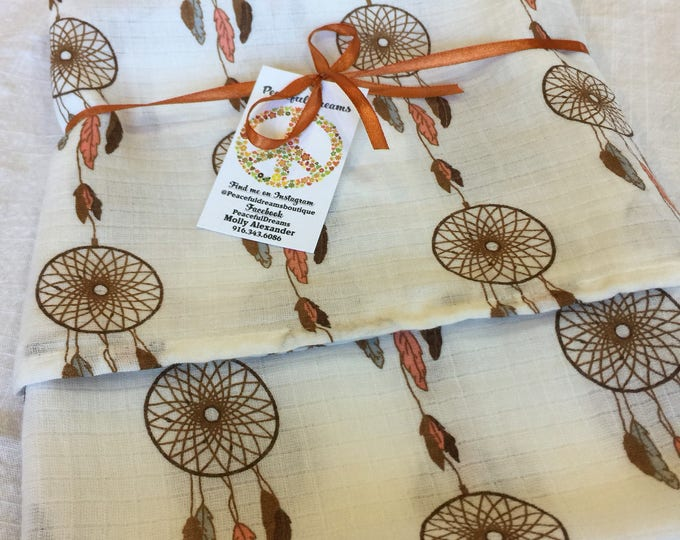 Double gauze swaddle, Muslin swaddle, dream catcher swaddle blanket, newborn, light weight breathable baby blanket 44x44 ready to ship
